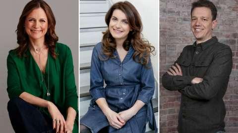 Split image of Katie Derham, Georgia Mann and Tom McKinney