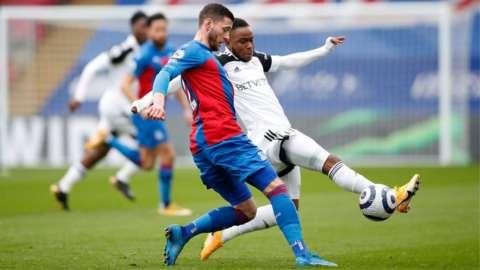 Crystal Palace's Joel Ward and Fulham's Ademola Lookman