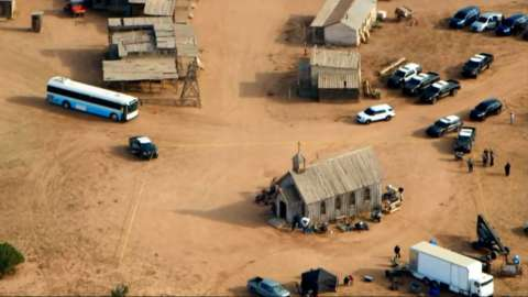 An aerial view of the film set on Bonanza Creek Ranch