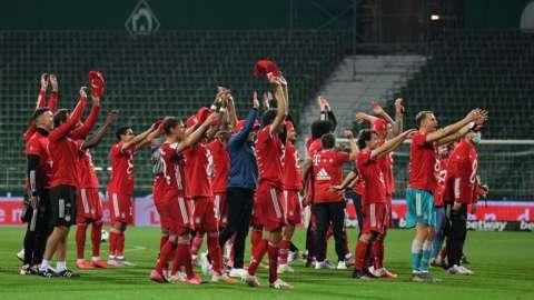 Bayern celebrate winning the title