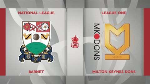 Barnet v MK Dons badge graphic