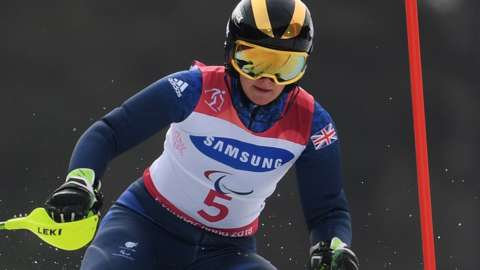 Visually impaired skier Millie Knight in action