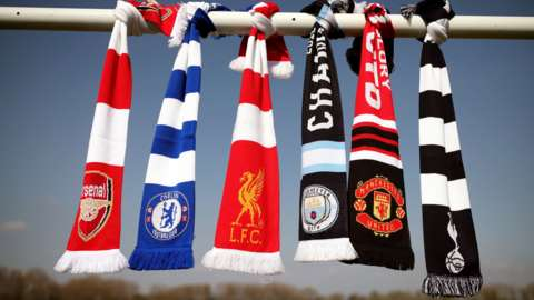 Scarves of English clubs who have signed up to play in the European Super League