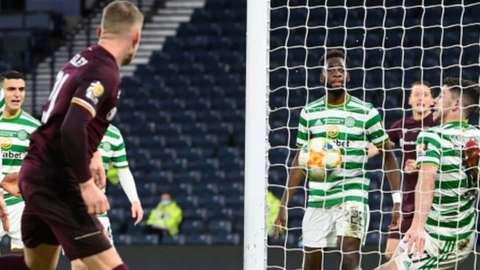 Hearts' Stephen Kingsley scores against Celtic