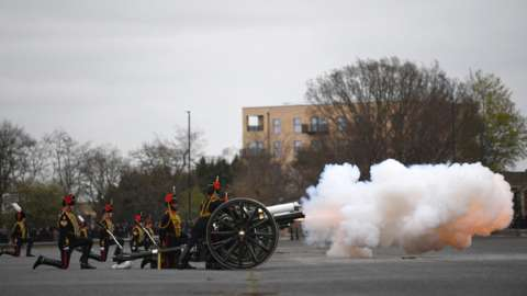 The Death Gun Salute is fired by The Kings Troop Royal Horse Artillery to mark the passing of Britain's Prince Philip, Duke of Edinburgh, at the Parade Ground, Woolwich Barracks in central London on April 10, 2021