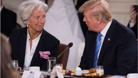 IMF's managing director Christine Lagarde and US President Donald Trump