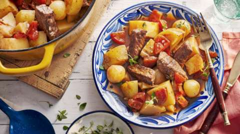 Meat and vegetable stew in a bowl