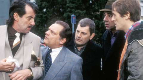 John Challis as Boycie, David Jason as Derek 'Del Boy' Trotter, Kenneth MacDonald as Mike Fisher, Roger Lloyd Pack as Trigger (aka Colin Ball) and Nicholas Lyndhurst as Rodney Trotter in series six of the comedy sitcom 'Only Fools and Horses'.