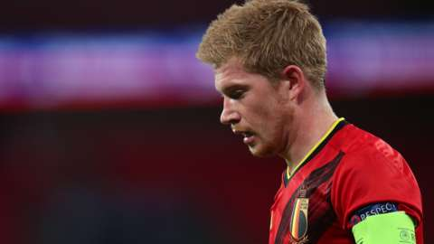 Kevin de Bruyne is substituted while playing for Belgium against England