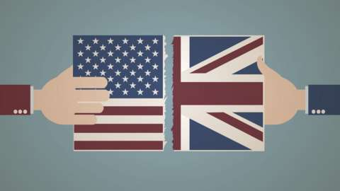 The US and UK flags being pulled apart