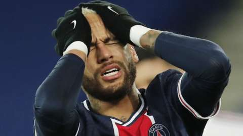 Paris St-Germain forward Neymar reacts during his side's 2-2 draw with Bordeaux