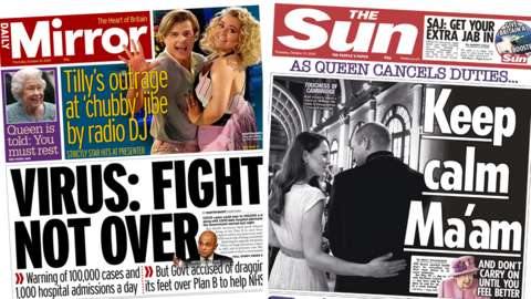 Mirror and Sun front pages - 21/10/21