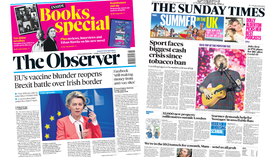 The Observer and The Sunday Times front pages 31 January 2021