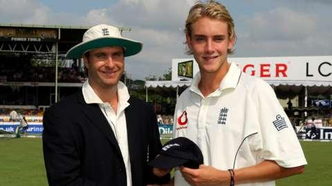 Stuart Broad with Michael Vaughan