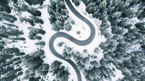 A winding snowy road