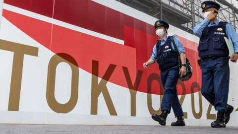 Police patrolling in Tokyo