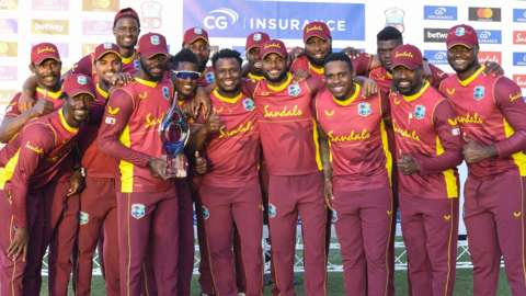 West Indies with the ODI series trophy