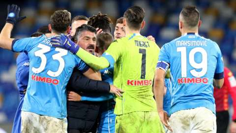Napoli players celebrate with Gennaro Gattuso