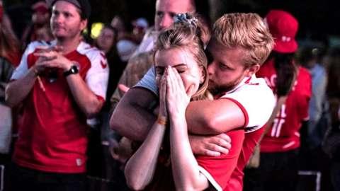 Danish fans in Aalborg react to defeat