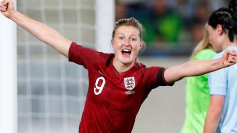 Ellen White celebrate one of her goals for England against Luxembourg