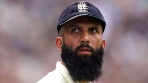 Moeen Ali looks on during the fourth England and India Test at The Oval