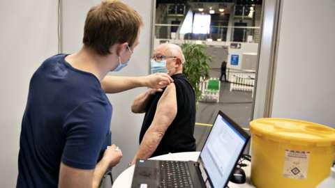 A man is vaccinated in Frederikshavn, Jutland, Denmark