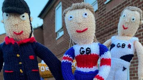 Knitted Ben Maher, Beth Shriever and Max Whitlock