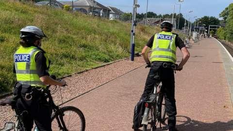 officer at balloch on bikes