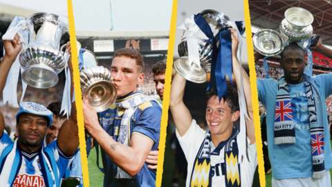 Left to right: Cyril Regis, Vinnie Jones, Gary Lineker and Yaya Toure celebrate winning the FA Cup