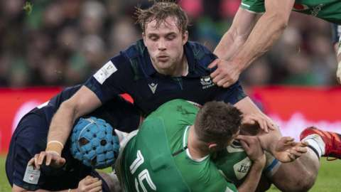 Scotland's Jonny Gray in action during the Guinness Six Nations match between Ireland and Scotland at The Aviva Stadium on February 1, 2020