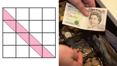 Split image of a maths challenge and money