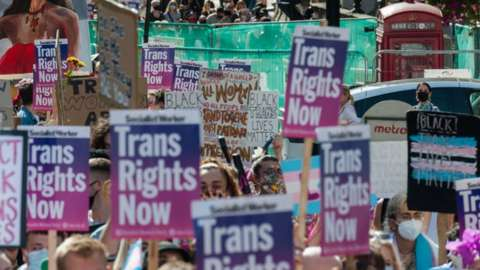 Trans rights protest London September 2020