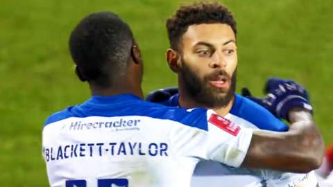 Kaiyne Woolery celebrates goal with Corey Blackett-Taylor