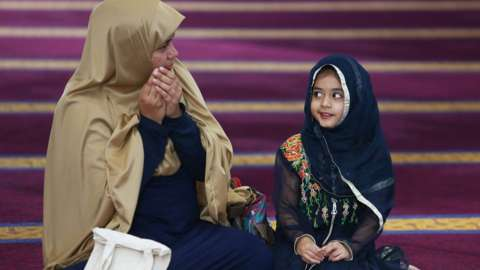 A mother and daughter at the Lakemba Mosque in Sydney, Australia