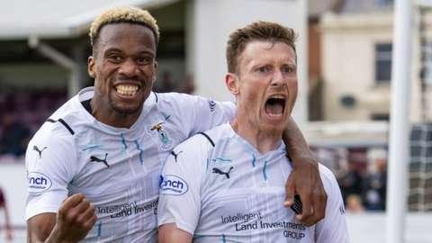 Shane Sutherland (right) celebrates his goal