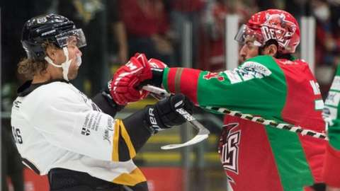 Cardiff's Brandon McNally gets in the face of former Devil Matthew Myers