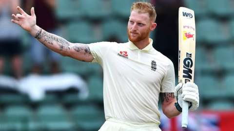 England all-rounder Ben Stokes celebrates hitting a century against South Africa in January 2020