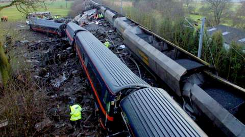 The scene after the Selby rail crash