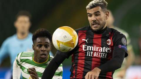 Celtic's Jeremi Frimpong and Milan's Theo Hernandez