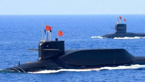 """A nuclear-powered Type 094A Jin-class ballistic missile submarine of the Chinese People""""s Liberation Army (PLA) Navy, 2018"""
