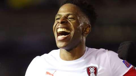 Chiedozie Ogbene celebrates scoring for Rotherham