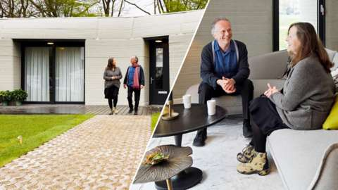 Split image of Elize Lutz and Harrie Dekkers outside and in their new home