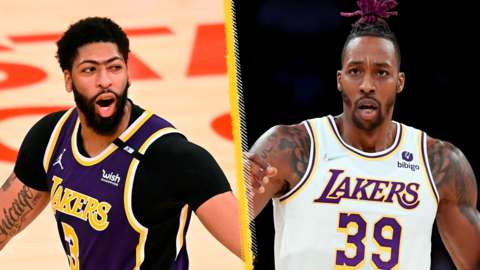 Los Angeles Lakers team-mates Anthony Davis (left) and Dwight Howard