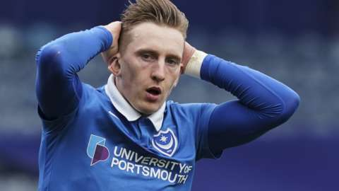 Portsmouth forward Ronan Curtis looks dejected