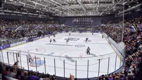 Glasgow Clan playing at home to a full Braehead Arena