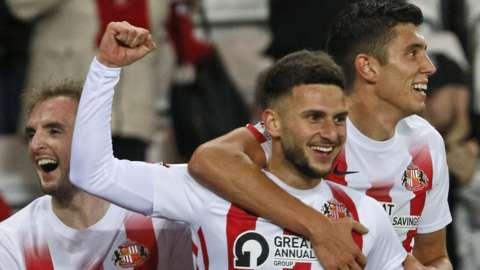 Leon Dajaku celebrates his goal for Sunderland