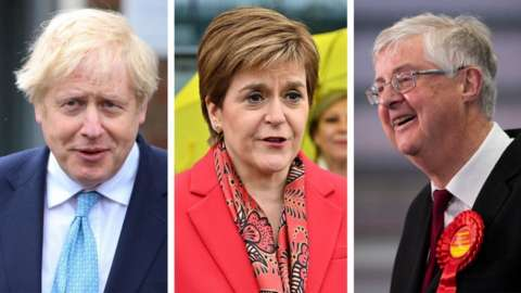 Composite image of Boris Johnson, Nicola Sturgeon and Mark Drakeford