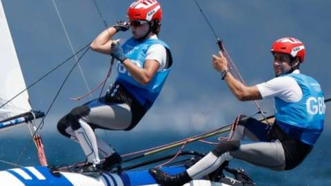 John Gimson and Anna Burnet of Great Britain competing in the mixed Nacra 17 class at Tokyo 2020