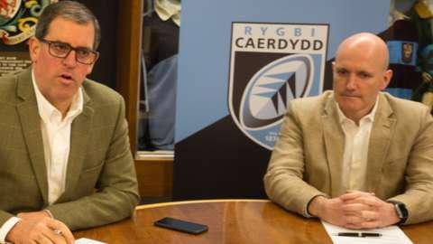 Cardiff chief executive Richard Holland (L) and chairman Alun Jones