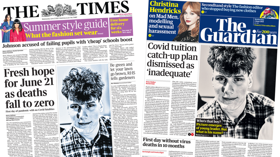 The Times and Guardian front pages